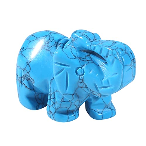 Winwinfly Green Turquoise Elephant 1.5Inches Statue Crafts Natural Stone Carved Figurine Chakra Carving Stones (Turquoise)