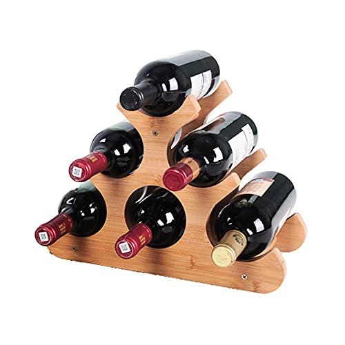 Botelleros para 3 Botellas Verticales Design Madera de Bambú Estantería de Botellas...