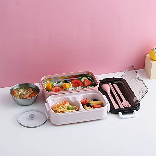 Hanpiyigfh Lunch Box Caja de Almuerzo Caja de Almuerzo portátil Double Eco-Friendly Camping Comida Contenedor Cuchara Tenedor Chopsticks Cubiertos Conjunto de vajillas (Color : Pink)