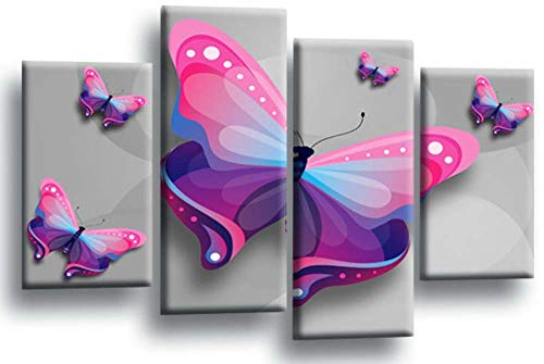 KOPASD Cuadro sobre Lienzo - 4 Piezas - Impresión en Lienzo - Mariposa Gris Rosa púrpura Animales Amor - Diseño Exquisito - Listo para Colgar - en un Marco