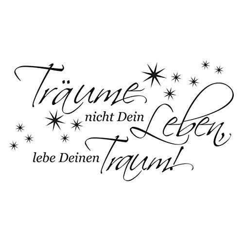WANDKINGS Wandaufkleber Wandtattoo - 50 x 27 cm - Spruch Träume Nicht Dein Leben, Lebe Deinen Traum!