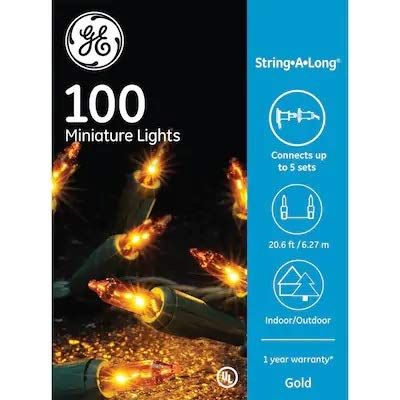 GE String-A-Long 100-Count Constant Gold Incandescent Christmas String Lights 60218LO
