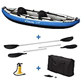 Kangui Canoë Kayak Gonflable Bleu 1 à 2 Places + pagaie + Sac Transport + Pompe Double Action+ kit de réparation