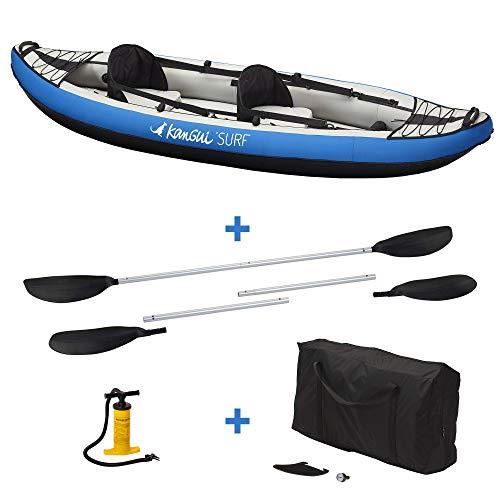 Kangui Canoë Kayak Gonflable Bleu 1 à 2 Places + pagaie + Sac Transport + Pompe Double Action+ kit...