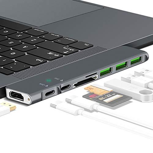 EJOYDUTY 8in1 MacBook Adapter, Multi-Port Thunderbolt 3 Dongle, met 4K HDMI, USB-hubs, 3USB 3.0 poort, SD/TF kaartlezer, voor MacBook Pro 13 15 inch 2018/2017/2016, MacBook Air 2018