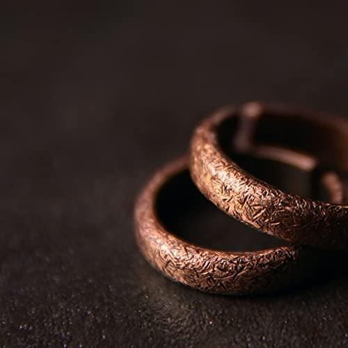 Hand Processed Texture Non Magnetic Copper Ring for Men Women (Women)