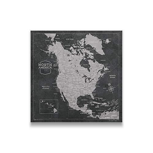Push Pin North America Map Board - With Push Pins to Mark North America Travel - Handmade in Ohio, USA - Design: Modern Slate