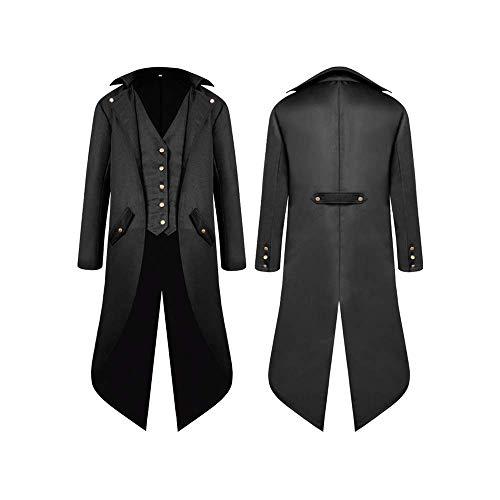 first123 Chaqueta de Abrigo Vintage para Hombre Medieval gótico Largo Steampunk Coat Victorian Frock Coat Uniforme Disfraz de Halloween