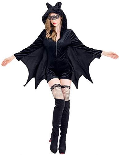 GRAJTCIN Womens Halloween Bat Costume Adult Vampire Bat Wings Sexy Long Sleeves Romper with Hood(Large, Black)