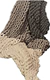 Chunky Knit Blanket - Extra Large Stretch to 50x90 inches - Suitable as Full Queen or King Bed Throws & Sofa Couch Throw - Grey & White Chenille Yarn Cable Hand Knitted - Comfy & Soft Family Blankets