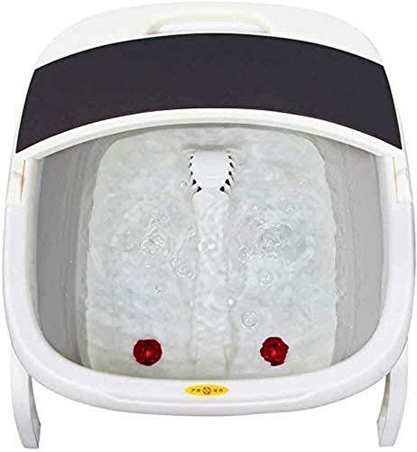 GOHHK Máquina masajeadora pies, bañera hidromasaje para pies con calefacción, masajeador pedicura Plegable con Jacuzzi con calefacción eléctrica y Onda Burbujas para aliviar el estrés