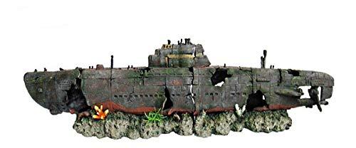 HERITAGE AQUARIUM FISH TANK U-BOAT SUBMARINE 2-PC WRECK HANDPAINTED ORNAMENT (WS004BS Small 40cm)