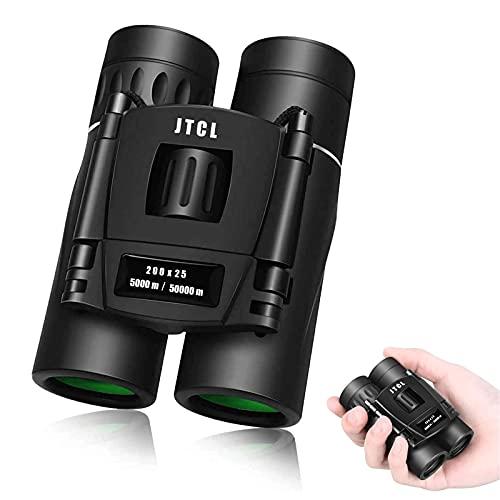 Prismáticos compactos 200 x 25 para observación de aves, senderismo, caza, turismo, pequeños prismáticos para adultos y niños, lente FMC, bolsa de transporte y adaptador para smartphone (8 x 21 BRI)