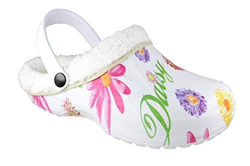 Slobbys Damen Warmfutter Eva Clogs | Hausschuhe Gartenclogs | Freizeit Winter Herbst Schuhe Gr.36-41 (40 EU, 00S28 Weiß)