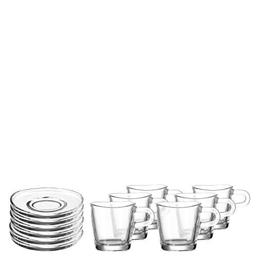 Leonardo Loop Espresso-Tasse und Unterteller, spülmaschinengeeignete Espresso-Gläser mit Untertassen, 12er Set, 75 ml, 032832