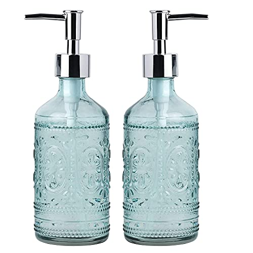 Whole Housewares Embossed Glass Soap and Lotion Dispenser Bottles with Plastic Pump-12OZ-Set of 2 (Blue)