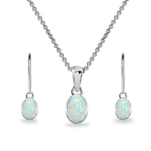 Sterling Silver Synthetic White Opal Oval Bezel-Set Solitaire Necklace & Dangle Earrings Set for Women, Teens