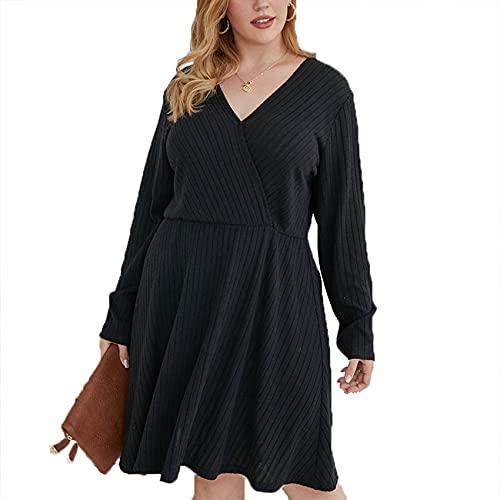 Lente en zomer vrouwen lange mouwen casual losse V-hals effen kleur jurk plus grootte dameskleding - zwart - 5XL