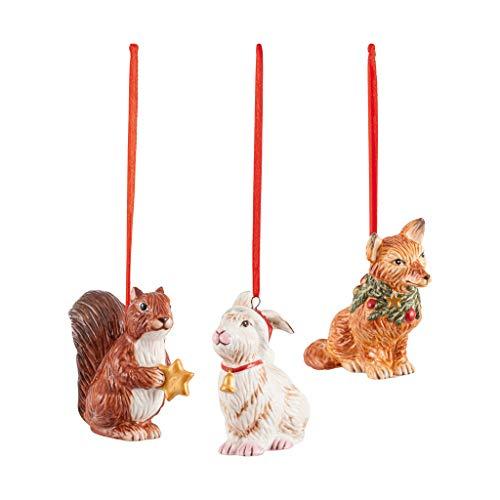 Villeroy & Boch - Nostalgic Ornaments Ornamente Waldtiere, 3tlg., putziges Dekoranhänger-Set aus Hartporzellan für den Christbaum, bunt, 6 x 7 cm