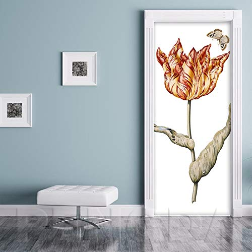 ADYNL 3D Etiqueta De Puerta Mariposa Flor Roja Abstracta Autoadhesiva Impermeable DIY Adhesivo Decorativo De Puerta Autoadhesivo De Bricolaje Pegatinas De Pared Decoración De Hogar Arte Moderno