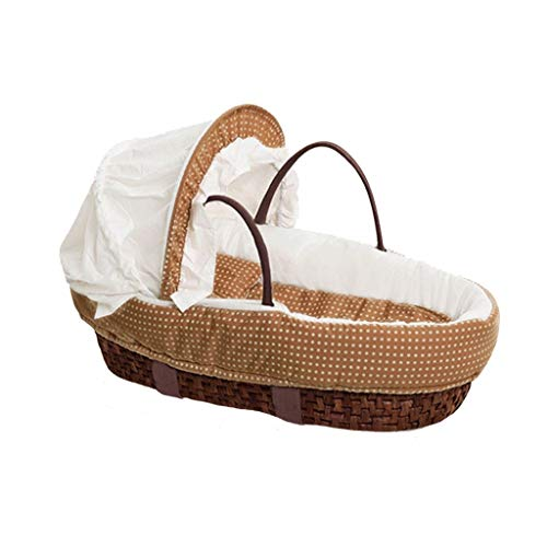 RRH-Cribs Portable Crib Travel Cots Baby Nest Cradle Bed Rattan with Matress Baby Bed Bedding (Color : A)