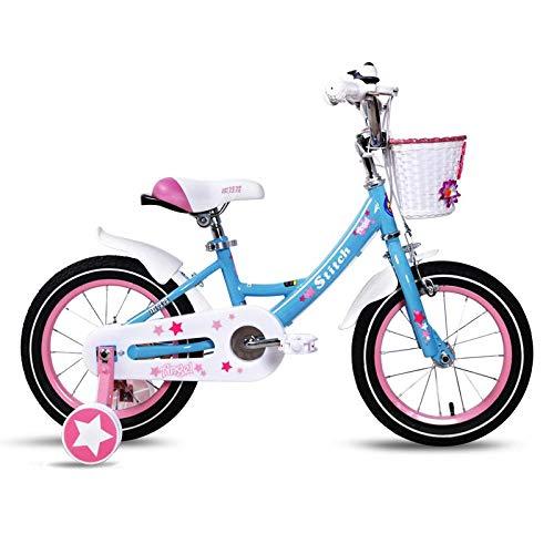STITCH Bicicleta infantil de 14 pulgadas para niñas y niños de 3 a 5 años de edad con ruedas de entrenamiento y frenos de mano, color azul
