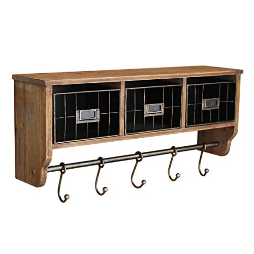 Rustic Coat Rack Wall Mounted Shelf with Hooks & Baskets, Entryway Organizer