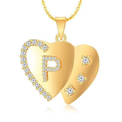 Kanak Jewels 'P' Letter Golden Gold Plated Cubic Zirconia American Diamond Brass Double Heart Couple Chain Pendent Set for Women...