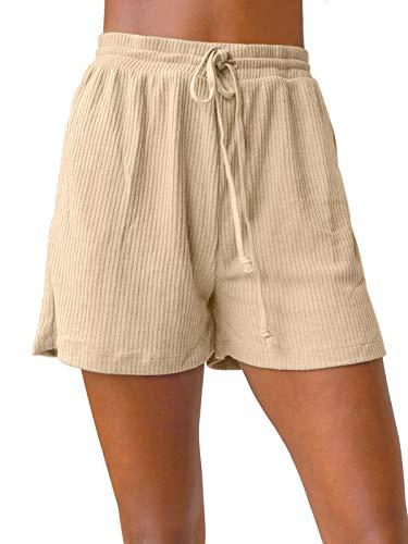 ZESICA Women's Summer Ribbed Knit Elastic Drawstring Waist Casual Beach Shorts with Pockets Khaki