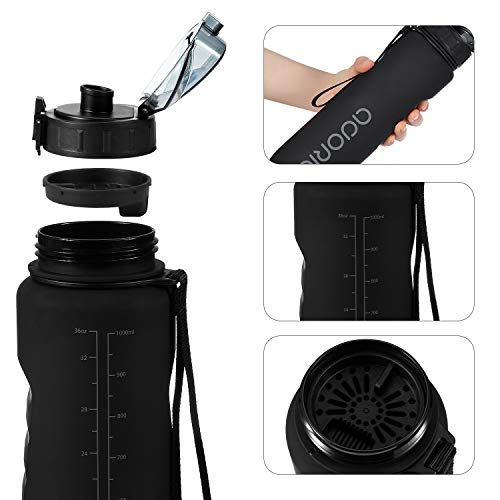 ADORIC Sports Water Bottle, BPA Free Tritan Non-Toxic Plastic Sport Water Cup, Durable Leak Proof Water Bottle with Filter, Flip Top