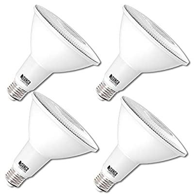 Sunco Lighting 4 Pack PAR38 LED Bulb 13W=100W, 4000K Cool White, 1050 LM, Dimmable Flood Light, Indoor/Outdoor, Accent, Highlight - UL & Energy Star Listed