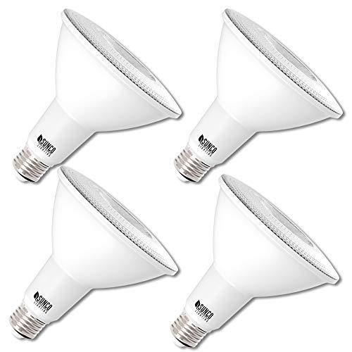 Sunco Lighting 4 Pack PAR38 LED Bulb 13W=100W, 5000K Daylight, 1050 LM, Dimmable Flood Light,...