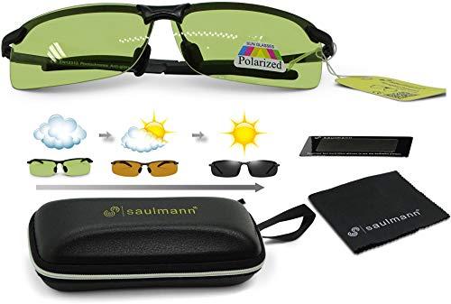Saulmann® Smart Polarisierte & Photochromatische selbsttönende Sonnenbrille, UV-Schutz, für Auto Fahren, Sport und andere Outdoor Aktivitäten, Ultraleichtes Metal-Gestell – SM7877