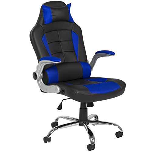 Best Choice Products BCP Deluxe Ergonomic Racing Style PU Leather Office Chair Swivel High Back - Blue