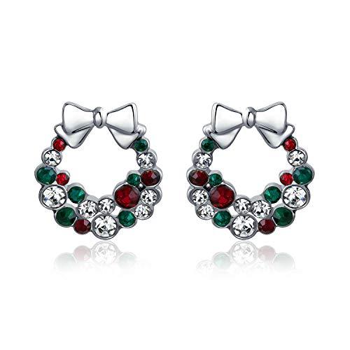 Vacaciones Navidad Verde Blanco Rojo Lazo Cristal Corona Pendiente Boton Mujer Adolescente Cristal Latón Chapadoplata