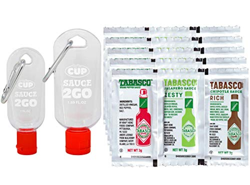 Tabasco Pepper, Chipotle, Jalapeno 3 Gram Packets 20 of each (Pack of 60) with 2 By The Cup Sauce 2 Go Keychains