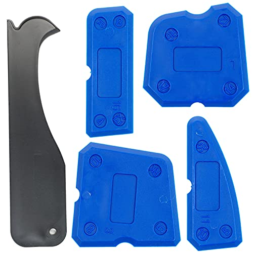 Quita juntas de silicona, set de 5, eliminador para baño, kit de calafateo de silicona en varios tamaños y ángulos, aplicador de silicona para cocina, raspador de juntas de azulejos, caulking tool kit