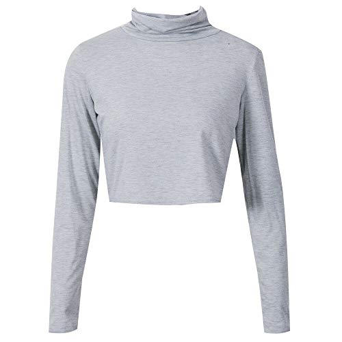 Check Out This Lovor Women's Long Sleeve Casual Turtleneck Crop Tops Elastic Sexy Basic Blouse Shirt...