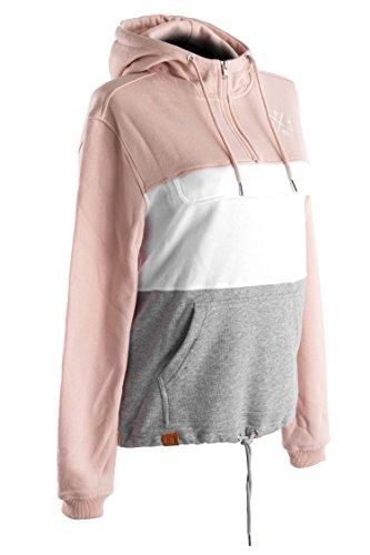 Manufaktur13 3-Tone Women's Zip Hoodie - 3 Farbiger Sweat Pullover mit Brusttasche/Bauchtasche, Oversize Sweater mit Kapuze (Creme) (L)