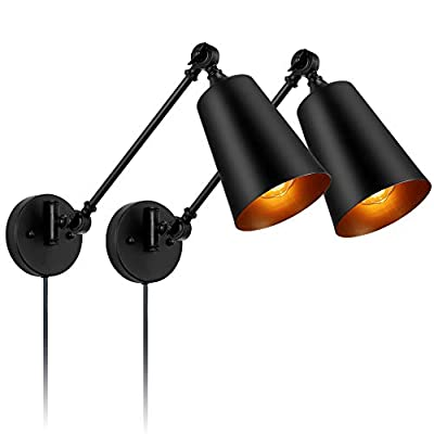 Wall Lamp Black Industrial Vintage Farmhouse Wall Sconce Lighting Adjustable Wall Light Fixtures Plug in Cord with On Off Switch E26 Base for Indoor and Bedroom(2 Lights)
