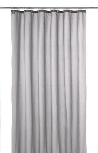 axentia Duschvorhang, Wannenvorhang, Badezimmervorhang inkl. 12 Plastikringe, ca. 180 x 200 cm, uni grau