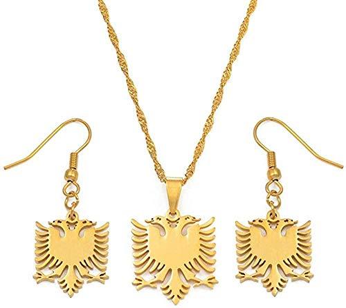 NC66 Pequeños Collares de águila de Albania, Conjuntos de Pendientes, joyería de Acero Inoxidable, Regalos étnicos, Mujeres, niñas