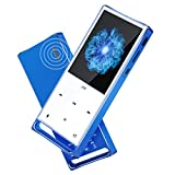 MYMAHDI MP3 Player, Bluetooth 16GB Lossless,FM Radio/Records by one Key, Max up to 128GB, Blue