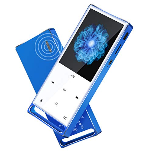 MYMAHDI MP3 Player, Bluetooth 16GB Lossless,FM Radio/Records by one Key, Max up to 128GB, Blue