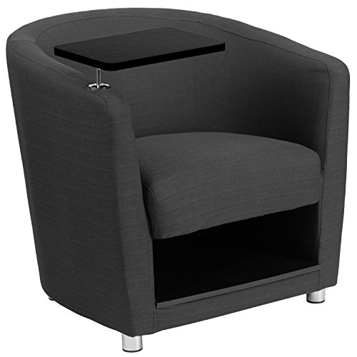 Flash Furniture Charcoal Gray Fabric Guest Chair with Tablet Arm, Chrome Legs and Under Seat Storage