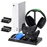 Vertical Stand with Cooling Fan for Xbox Series S with 1400mAh Rechargeable Battery Pack, YUANHOT Charging Station Dock with Controller Charger Ports, Cooler System (NOT for Xbox One S/X Controller)