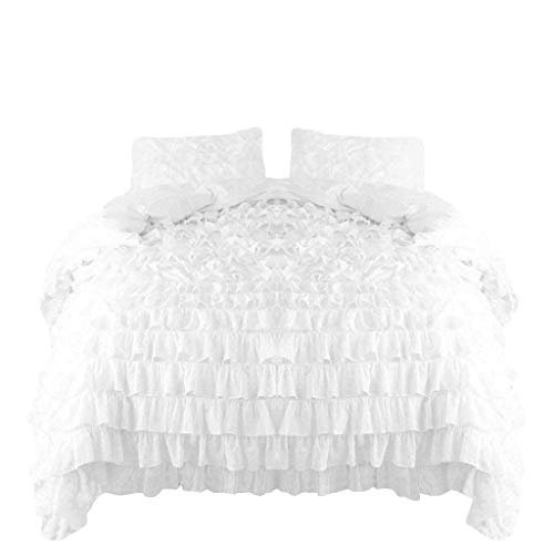 Knight & Kavalier Lustrous 3 Pieces Duvet Cover Set 100% Egyptian Cotton 400 Thread Count White Ruffled Duvet Quilt Cover with Zipper Bedding Set Double Size- Shabby Ruffle, White