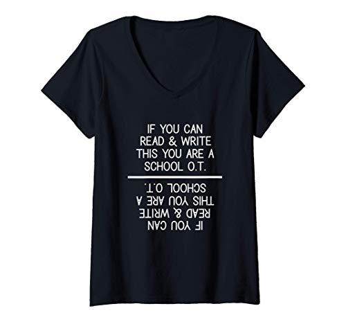 Mujer Terapeuta ocupacional escolar Regalo Terapia OT divertida Camiseta Cuello V