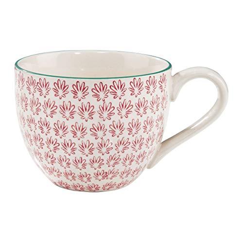 BUTLERS Retro Tasse 550ml - Rote Kaffeetasse Vintage Design – Hochwertige Porzellantasse, Kaffeebecher, bunte Teetasse