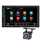 Double Din Car Stereo with 12LED Backup Camera, 7 Inch Touch Screen 2 Din Car FM Radio MP5 Player, in-Dash Car Audio Receiver System with Bluetooth Handsfree, Phone MirrorLink…